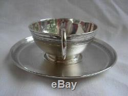 Puiforcat Antique French Sterling Silver Coffee Cup & Saucer, Louis 15 Style