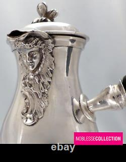 RARE ANTIQUE 1880s FRENCH STERLING SILVER COFFEE POT & CREAMER FIGURE Louis XIV