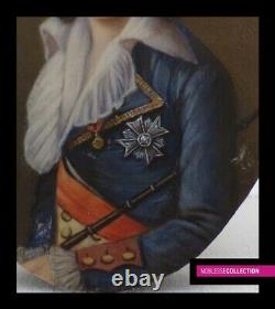 RARE ANTIQUE 19th C. FRENCH MINIATURE PAINTING WATERCOLOR Portrait of Louis XVII
