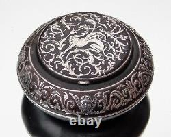 RARE FRENCH King Louis Philippe I SOLID SILVER MOUNTED BLACK ENAMEL SNUFF BOX