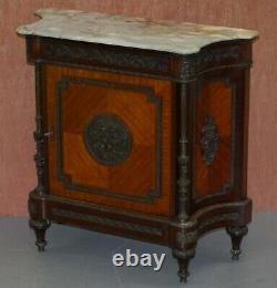 Rare 19th Century French Louis Walnut Sideboard Drawers Marble Top Bronze Mounts