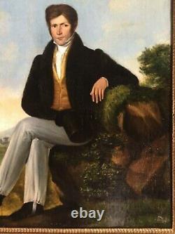 Rare 19thC Antique oil painting Portrait Gentleman French Romantism LOUIS BOILLY