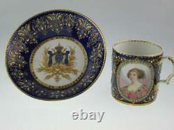 Rare Antique French 18th Century Sevres Porcelain Cup Saucer King Louis XIII