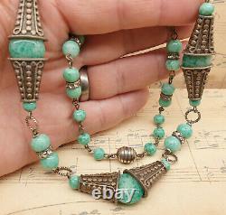 Rare Antique French 1920s Art Deco Peking Glass Bead Necklace by Louis Rousselet