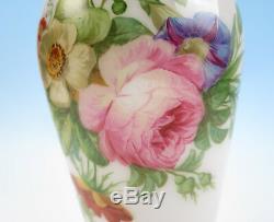 Rare Baccarat or St Louis TORSADE RIM Opaline Glass Vase Antique French Roses