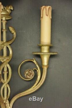 Rare Pair Of Sconces, Hermes Caduceus, Louis XVI Style Bronze French Antique