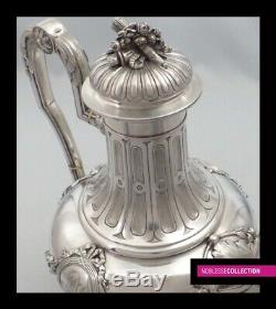 STUNNING ANTIQUE 1860s FRENCH STERLING SILVER TEA COFFEE POT Louis XVI st. 754g