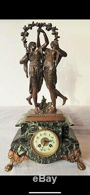 Sculpture Clock Brass, Marble, Spelter Late 19th Century French Louis