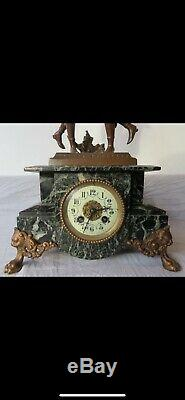 Sculpture Clock Brass, Marble, Spelter Late 19th Century French Louis XVI