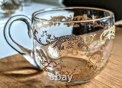 Set 3 Antique Saint Louis Crystal Gold Encrusted Tea Punch Cups Micado Mikado