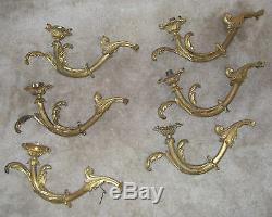 Set Of 6 Antique 19th Century Italian Or French Louis XV Gilt Bronze Sconces
