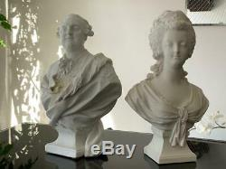 Signed Antique Sevres Marie Antoinette and Louis XVI Bust