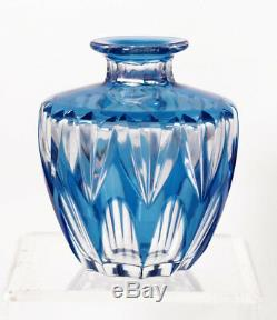 Signed St. Louis cut to clear Deco vase, 1930 to 1950s 11758