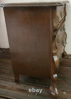 Small antique french Louis XV style dresser 1930-40's walnut wood bronze handles