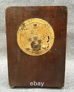 Small antique french Louis XVI style travel clock 1900's mahogany brass wood
