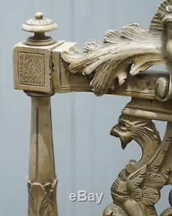 Stunning Antique French Louis Carved Occasional Chair With Cherub Detailing