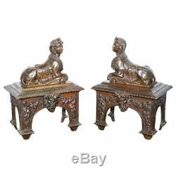 Stunning Pair Of Early Louis XVI French Bronze Chenets With Recumbent Sphinx