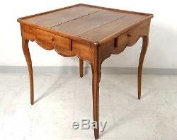 Table cabaret Louis XV à jeu merisier sculpté antique french table XVIIIème