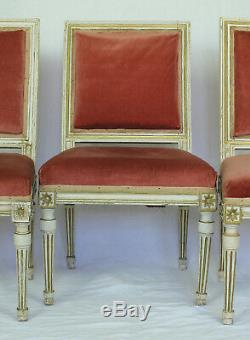 Three French Antique 18th Cen. Louis XVI Period Painted Wood Chairs, c. 1780