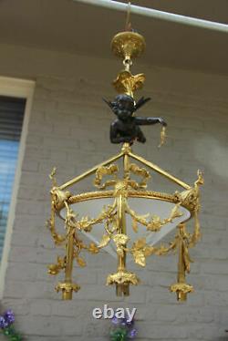 Top French Chandelier Bronze Angel putti glass bowl Louis XVI guirlandes rare
