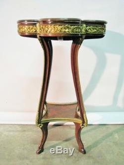Unique 19th Century Louis XV Style French Inlaid Table With Gilt Bronze Mounts