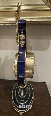 V&A Louis XVI Marie Antoinette Ormolu Lyre Mantel Clock With Key Antique Style