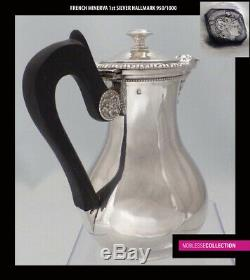 VEYRAT ANTIQUE 1890s FRENCH STERLING SILVER COFFEE POT Louis XV Minerva 950/1000