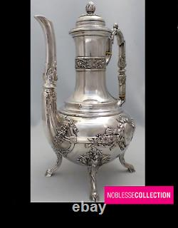 VICTOR BOIVIN ANTIQUE 1890s FRENCH STERLING SILVER COFFEE POT LOUIS XVI Acanthus