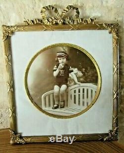 Very Beautiful French Antique Bronze Picture Frame Louis XVI Style Knot