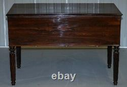Very Rare Solid Rosewood French Louis Phillipe 19th Century Campaign Desk Bureau