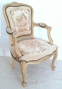 Vintage French Aubusson tapestry chair, Louis XV, antique chair, chateau