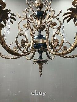 Vintage French Louis XVI Style Chandelier Ceiling Lamp Brass Hollywood Regency