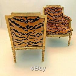 Vintage French Louis XVI Style Giltwood Tete-A-Tete Settee Animal Tiger Velvet
