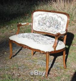Vintage French Provincial Louis Xv Style Tapestry Settee