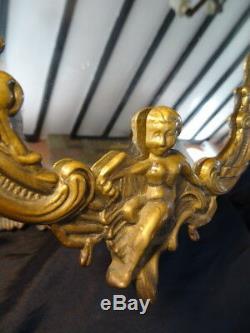 Vintage Louis Style Reproduction French Ladies Boudoir Brass Putti Rococo Mirror