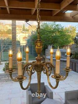 Vintage Louis XVI FRENCH GILT GILDED BRASS SIX ARMS CHANDELIER FIXTURE