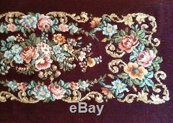 Vintage Needlepoint Bench Seat Cover French Louis XV1 Design Looks Mint