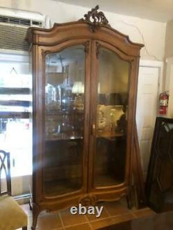 Walnut Armoire Display Cabinet Antique French Louis XVI Tall 1880