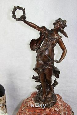 XL Antique French Louis Moreau La recompense statue spelter marble clock marked